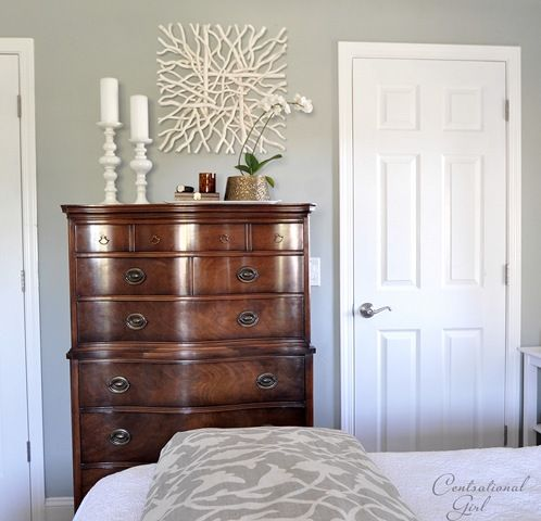 Wall paint - Half ben moore misted green mixed with half ben moore camouflage. Love  the dark wood with light silvery blue and white accents