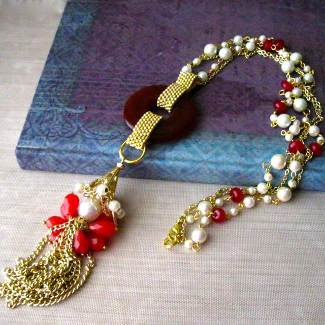 Beaded Tassel Statement Necklace - Jewelry creation by Raziela Designs