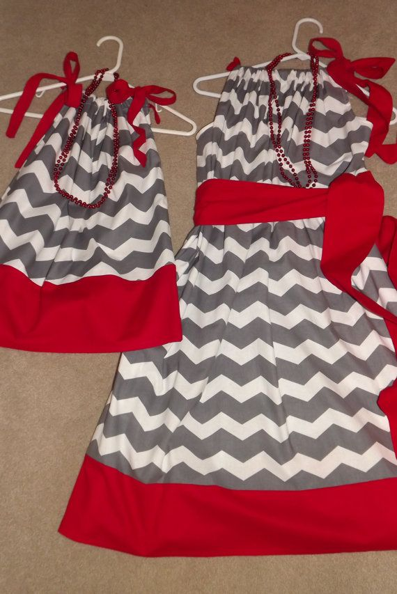 Any Team Pillowcase Dress in Ohio State Buckeyes Scarlet and Grey  I should make these for Ellie and me!!