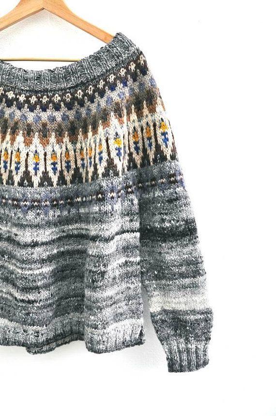 Bekijk dit items in mijn Etsy shop https://www.etsy.com/nl/listing/597348555/fair-isle-trui-handgebreide-trui