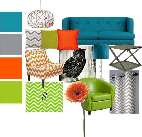 """Blue, Orange, Green and Gray Living Room Set"" by bekahjoy813 on Polyvore"