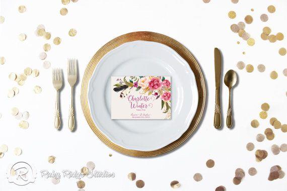 Printable Wedding Place Cards Escort Cards Romantic Watercolor Floral, Bohemian Floral by RubyRidgeStudios