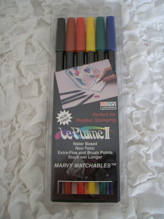 Le Plume II Water Based Rubber Stamping Pens. Set of 6.  Primary Colors