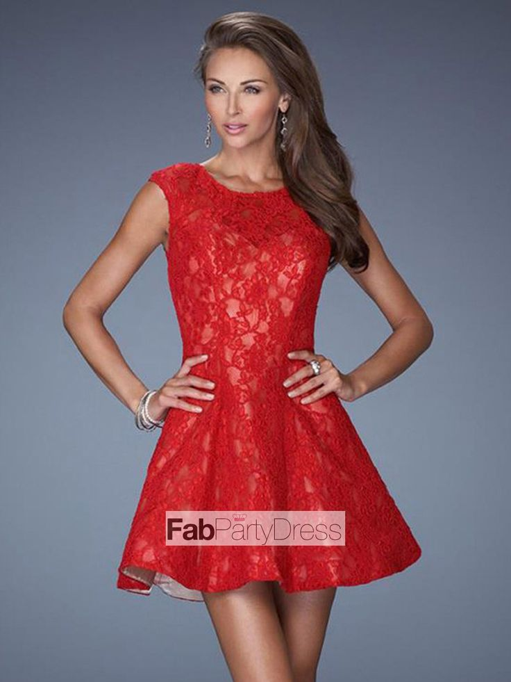 A-line Scoop  Lace SleevelessShort / Mini  Lace  Cocktail Dresses / Homecoming Dresses