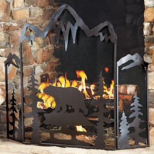Black Bear Fireplace Screen. LOVE This!