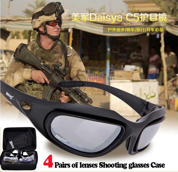 Daisy C5 Polarized Army Goggles Desert 4 Lens, Outdoor UV Sports Hunting Military Sunglasses, Men's War Game Glasses