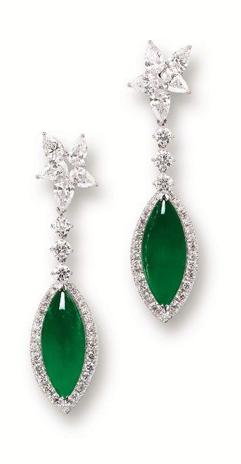 JADEITE AND DIAMOND EARRINGS (Sotheby's)