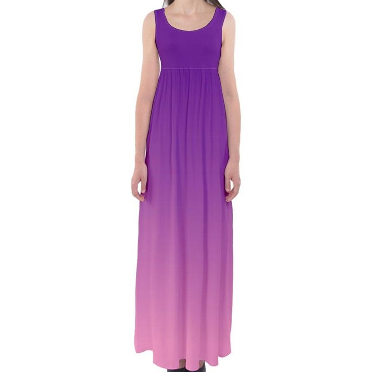 Purple to Pink Ombre Empire Waist Sleeveless Maxi Dress