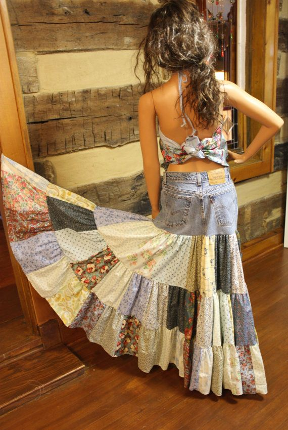 upcycled denim skirt hippie patchwork skirt long