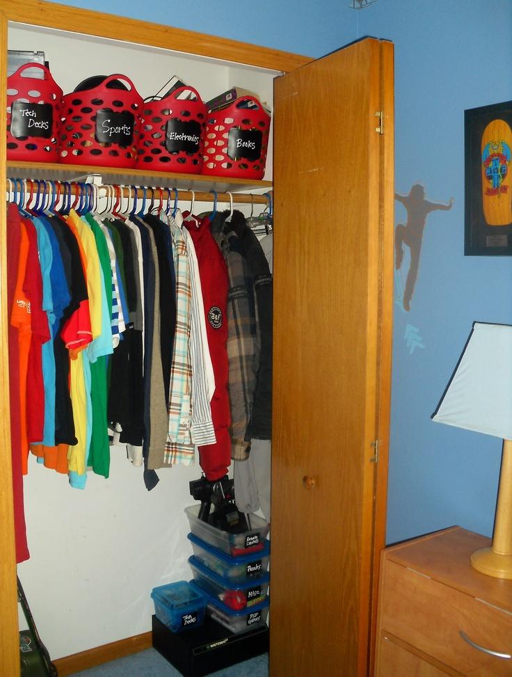 Boy Closet Re Do Organizing Son S Closet Use Baskets From