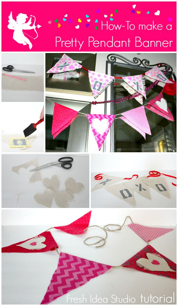 how to make a cute Valentine drop cloth banner
