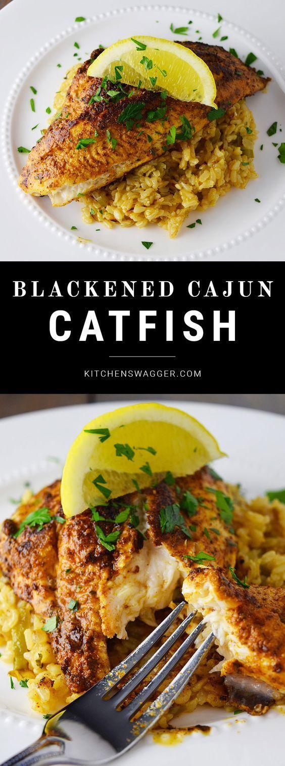 Blackened catfish over spicy, cajun rice.
