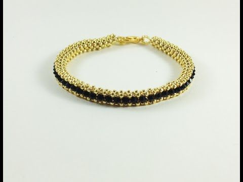 cubic right angle weave - riviera bracelet - YouTube