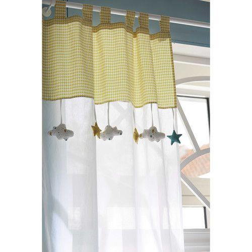 Rideau à passants en coton blanc/jaune 110 x 250 cm GASTON