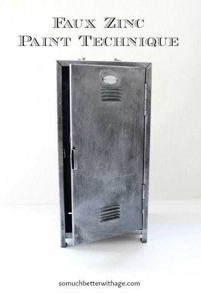 Faux zinc paint technique www.somuchbetterwithage.com #paint #diy #diyprojects #fauxzinc