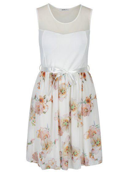Krémové květované šaty s páskem Haily´s Nell