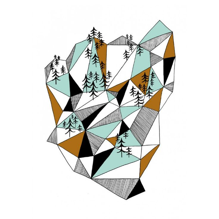 Depeapa A4 Geometric mountain print - Lounge & Living