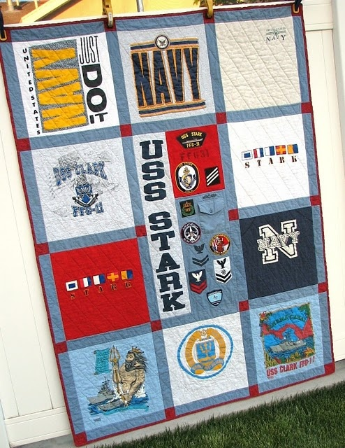 A quilt made from military insignia, shirts and t-shirts.  Awesomesauce.  I would love to make something like this for The Hubs one day.