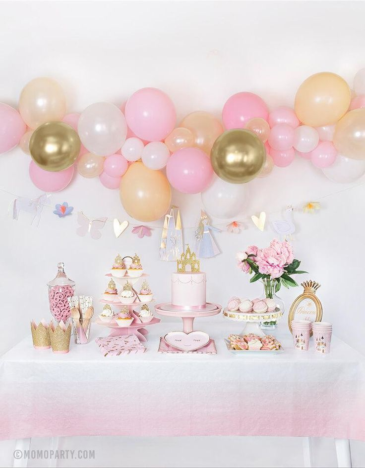 Pink and White Balloons Pink Birthday Decorations 6 Pink princess Balloons Girls 1st Birthday Party Party Decorations