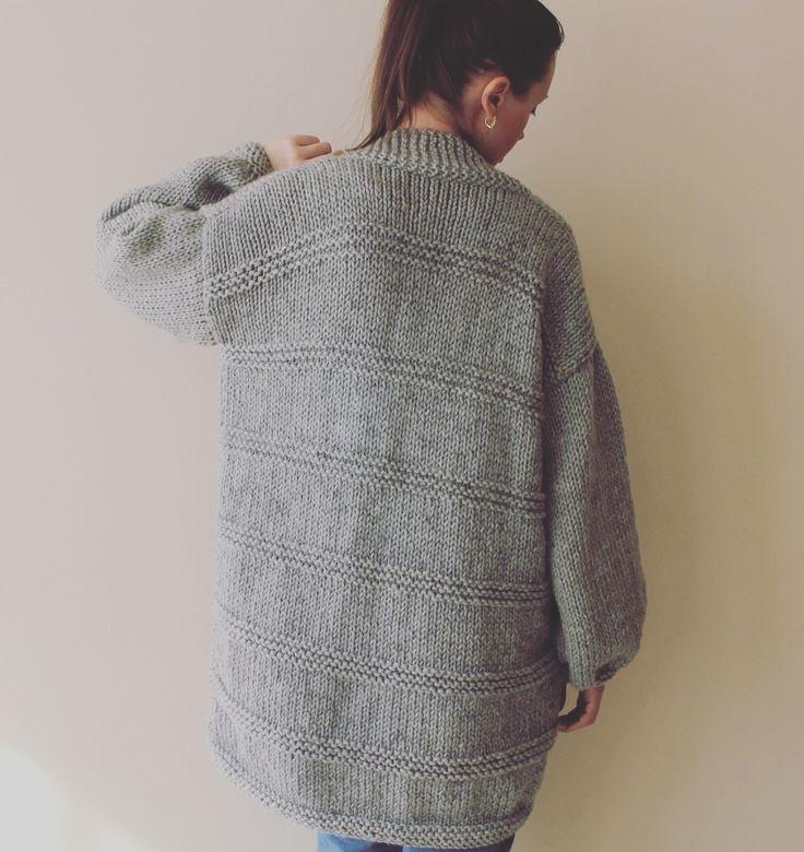 Women's Gray Chunky Sweater Cardigan / Hand Knit Grey Sweater / Women's Cardigan / Women's Sweater / Long Cardigan