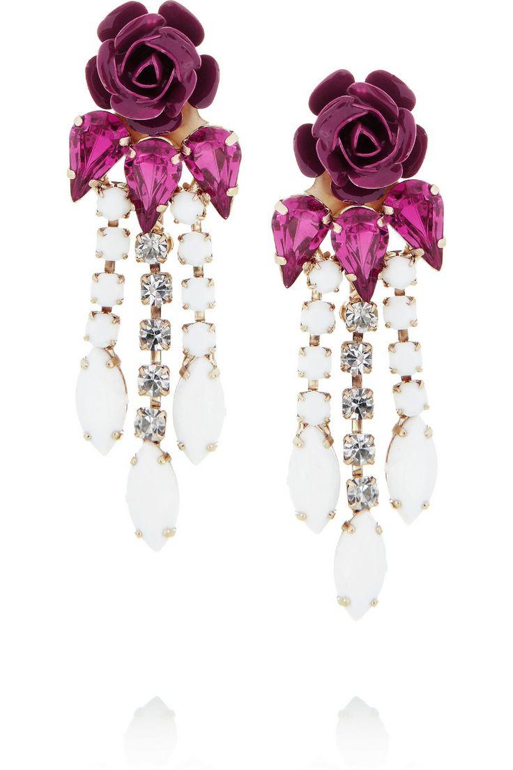 Roberto Cavalli|Swarovski crystal flower clip earrings|NET-A-PORTER.COM