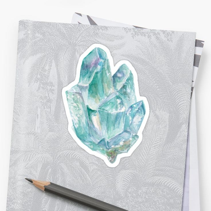 Watercolor and white illustration of a raw aquamarine gemstone. / I love aquamarine, it is such a beautiful gem and the raw stones have so many colors! • Also buy this artwork on stickers, stationery, and wall prints.