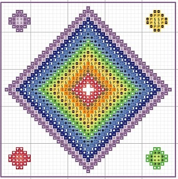 Cross-stitch Bright Colors biscornu ... no color chart available, just use the pattern chart as your color guide.. or choose your own colors...