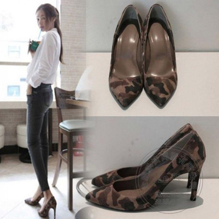 Party Casual Kätzchen Sexy Spitz High Heels Büro Camouflage Alle Match Frauen Mode Kleid Schuhe Koreanische 2016 Neuen Pumpen //Price: $US $49.08 & FREE Shipping //     #clknetwork
