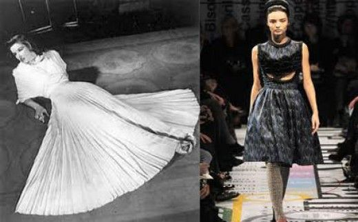 1950s fashion trend: swing skirt, modern spin not as much fabric used