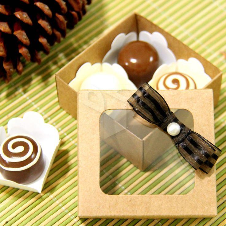 Caixa Kraft com visor para 4 doces | Dal Embalagens | Elo7