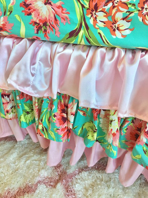 Baby Pink Crib Skirt, Baby Girl Crib Bedding, Coral Floral Ruffled Crib Skirt, Girl Baby Bedding, Coral Crib Skirt, Baby Bedding. We can also make this adorable bedding in Childrens size if interested. Crib Skirt 3 Sided---Tiered ruffled crib skirt. 4 Sided available if you are