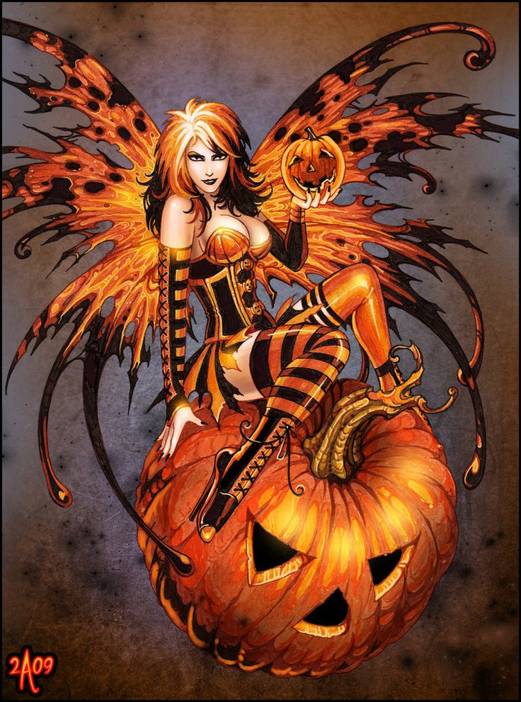 Fairy of Halloween Pumpkin by = Candra on deviantART