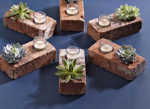 DIY brick succulent planters and candle holders. Could probably avoid drilling one