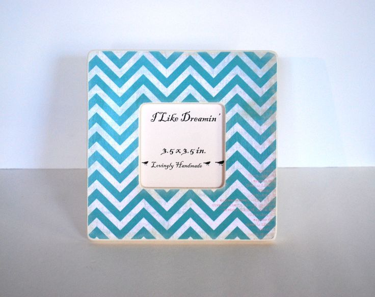 Teal Chevron Picture Frame.  Perfect for table display! | http://loveablelockets.com