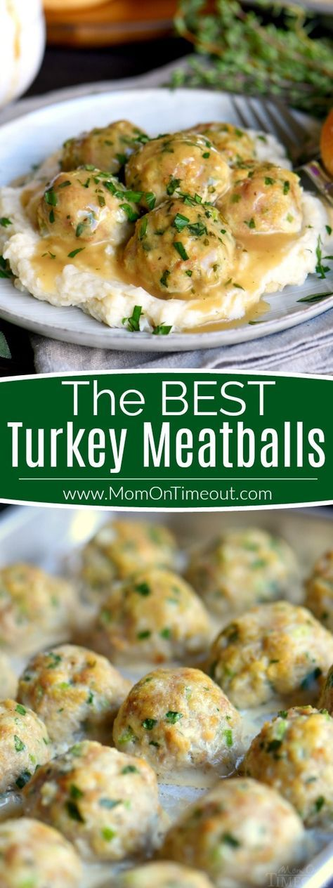 The BEST Turkey Meatballs can be on your table in less than 30 minutes! These baked turkey meatballs are perfectly seasoned and exceptionally delicious. Topped with a simple herbed gravy, they're impossible to resist! // Mom On Timeout #turkey #dinner #recipe #ad