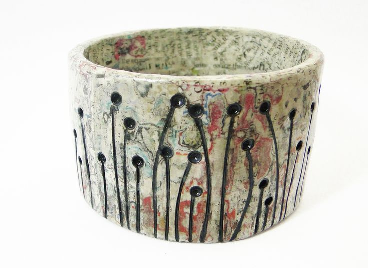 Fallen Trees - Carved paper bangle with painted decoration. #DaniCromptonDesigns www.dani-c.co.uk