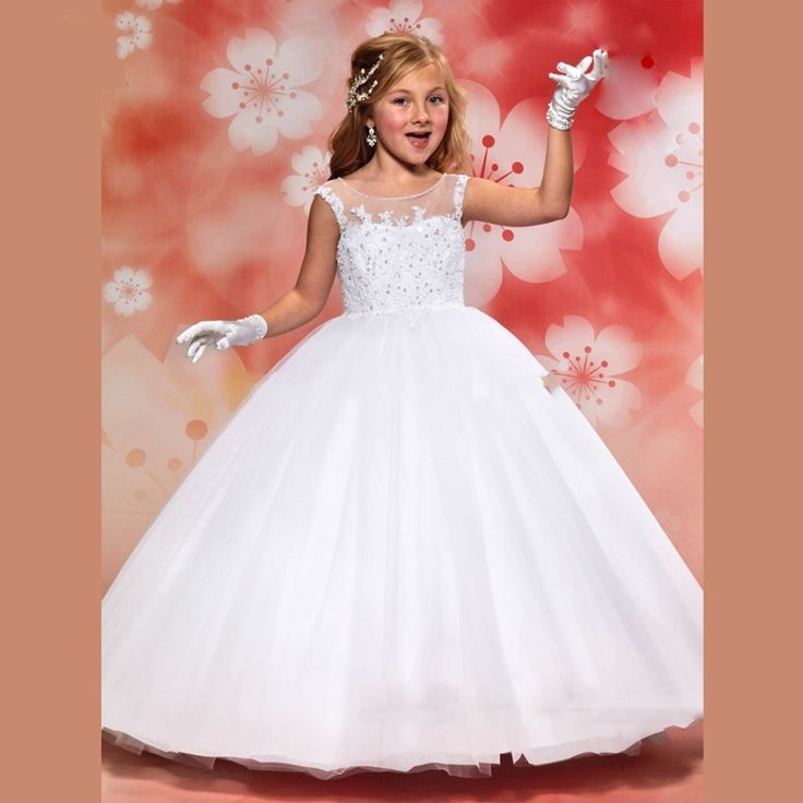 $58-Cheap Hot Sale White Flower Girl Dresses For Weddings 2016 Lovely Lace Vestido De Comunion Ball Gown Holy Communion Dresses