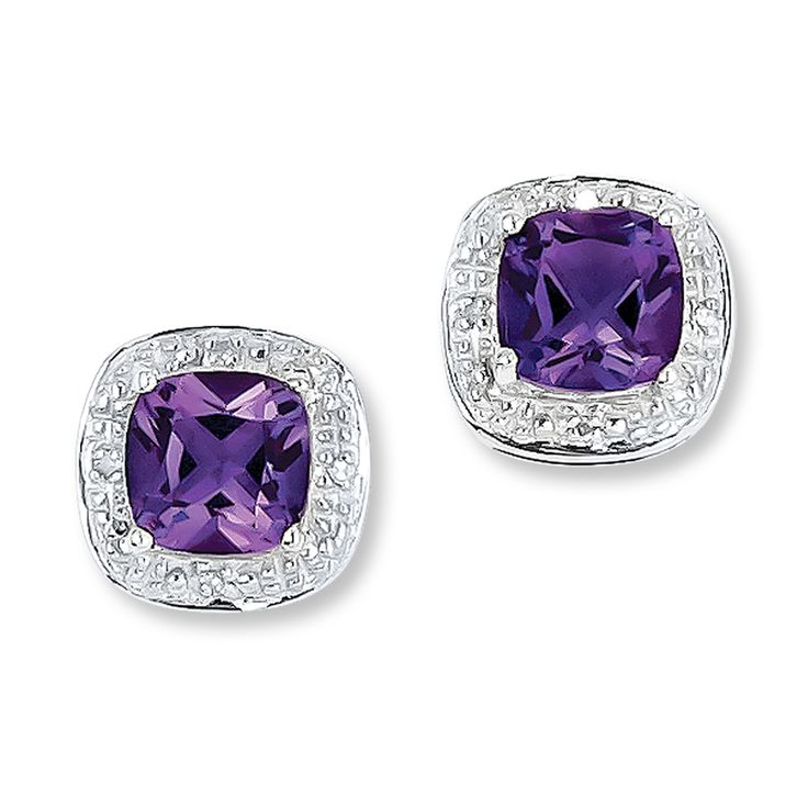 Romantic amethysts are the lovely focal point of these earrings for her. Accented with diamonds and set in sterling silver, the earrings fasten with friction backs.  Gently clean by rinsing in warm water and drying with a soft cloth.