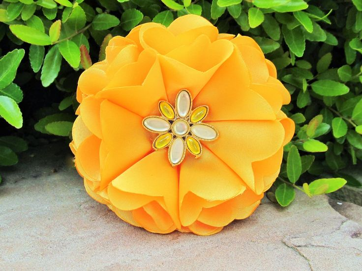 Golden Yellow Satin Flower Pin, Hair Clip or Headband with Antique Button Center by BROWNIESBOWTIQUE on Etsy