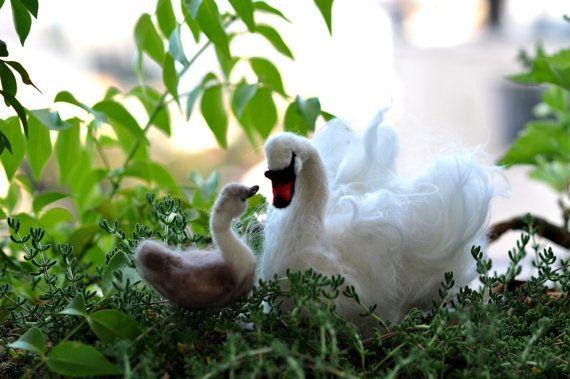 needle-felted swans