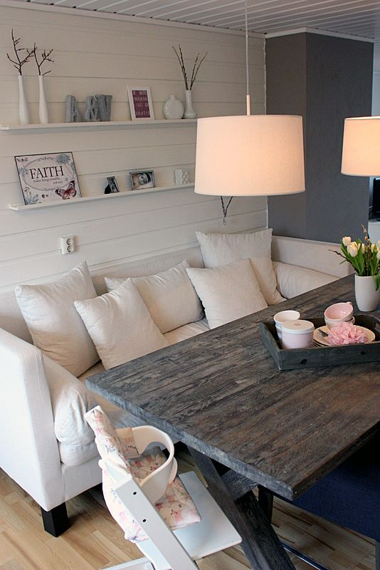 I'm loving this!!! cute casual dinning seating, maybe off a