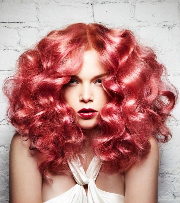Coppery pink hair