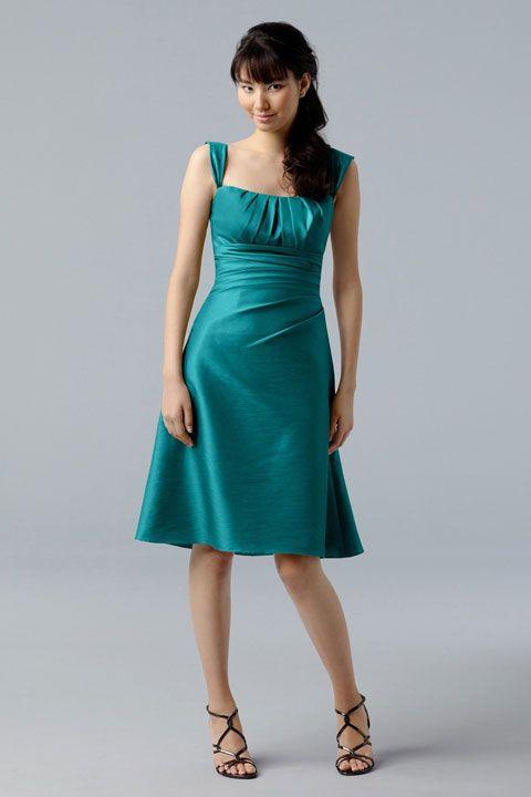 Straps A-line with ruffle embellishment taffeta bridesmaid dress