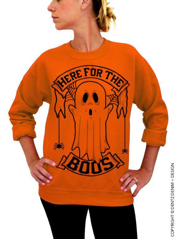 "Use coupon code ""pinterest"" Halloween Shirt - SALE - Halloween Ghost - Here for the Boos - Orange Unisex Crew Neck by DentzDenim"
