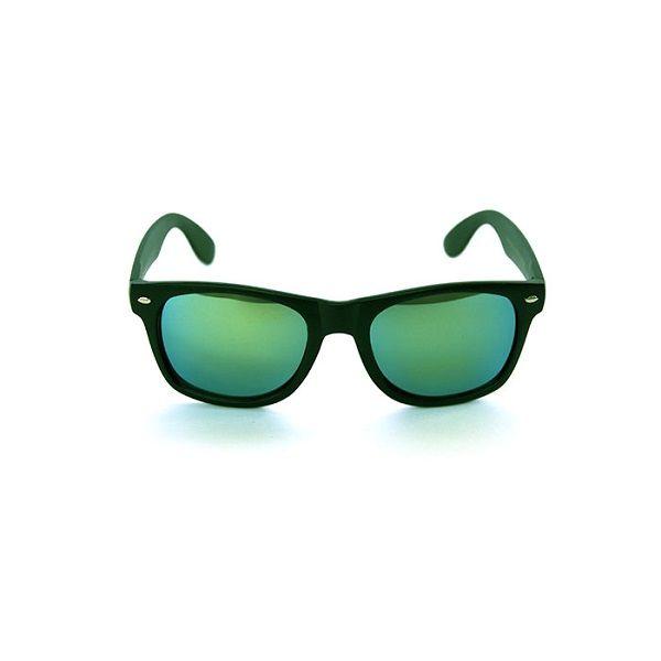 Wayfarer model zonnebril.  Groen/ blauw gespiegelde glazen.  Zwart montuur.