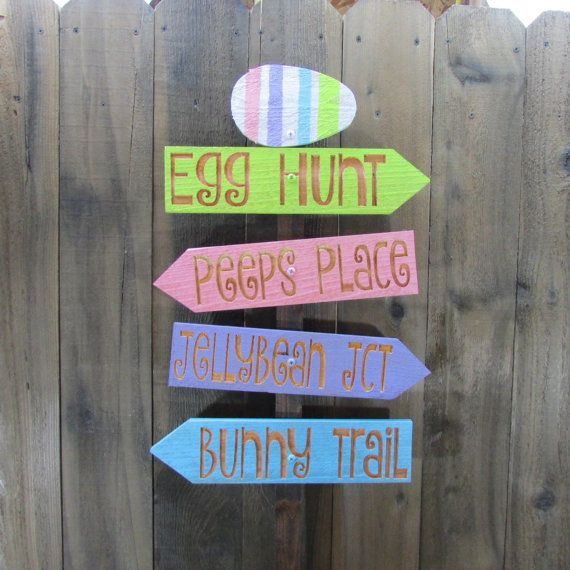 Easter Lawn Ornament Sign - Egg Hunt Jelly Beans Bunny Trail Peeps Spring - Decoration Cedar Wood Holiday Decor