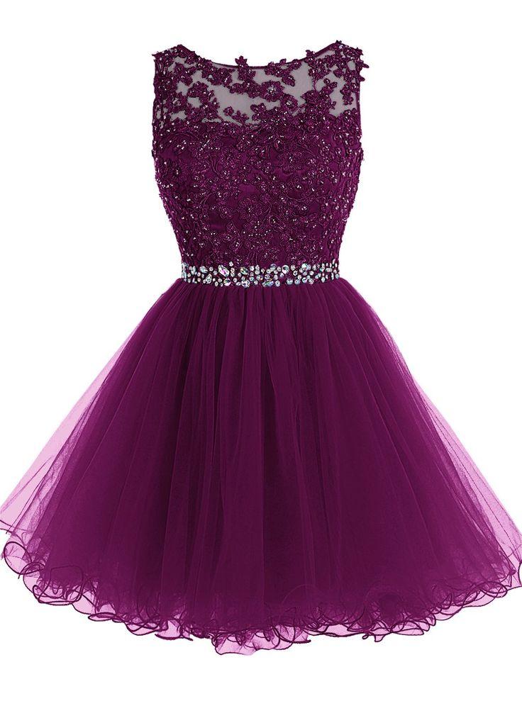 Tideclothes Short Beaded Prom Dress Tulle Applique Evening Dress Royal Blue US2                                                                                                                                                                                 Más