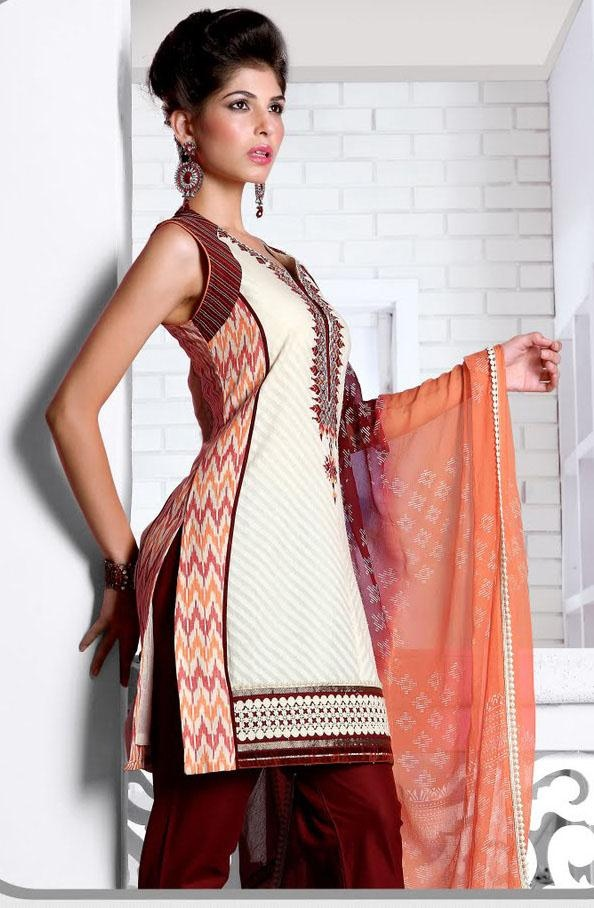 76.64 White Sleeveless Jacquard Cotton Short Length Punjabi Salwar ...