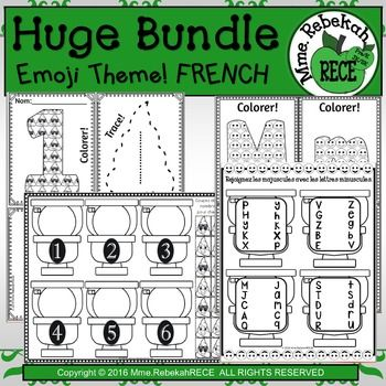 Ultimate French EMOJI Bundle 76 pgs. 1 page -- Letter Spiral Fun 6 pages -- Letter Matching (Upper and Lowercase) 12 pages -- Fill & Write with the Correct Number (1-20) 1 page -- Connect the dots 1-20 20 pages -- I can Color it, Fill it, Trace it, Decorate it! (Numbers 1-20) 26 pages -- I can Color it, Fill it, and Embellish it! (Alphabet Upper and Lower case) 10 pages of morning work letter & number practice (scaffolding to greater competency with sequencing)