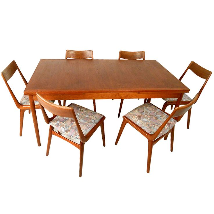 Mid Century Danish Modern Teak Dining Room Table With Chairs